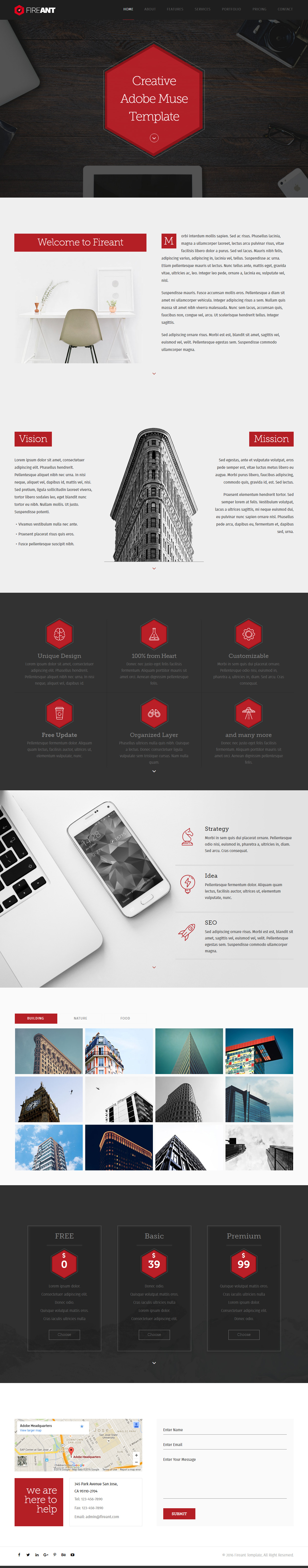 15 best one page muse templates 2017 responsive miracle for Adobe muse mobile templates