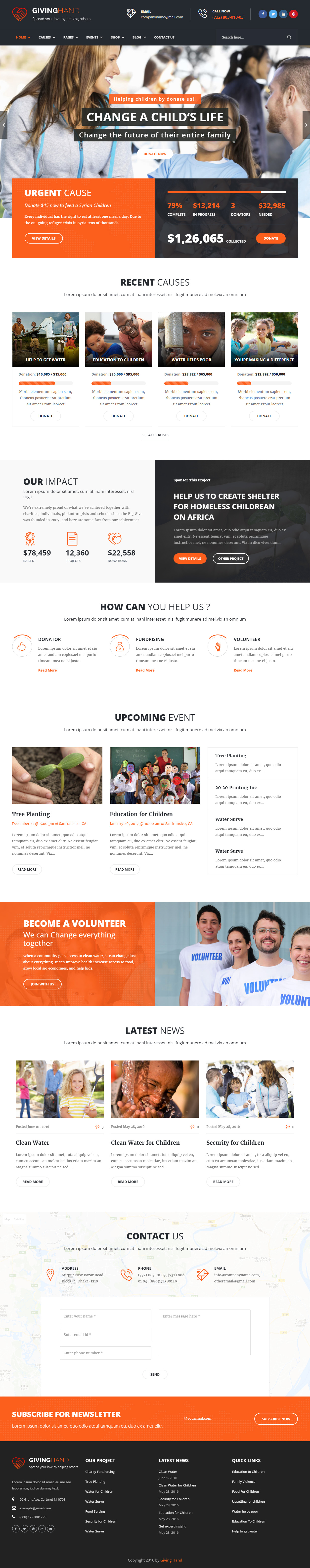 Giving Hand Premium Responsive Charity Wordpress Theme