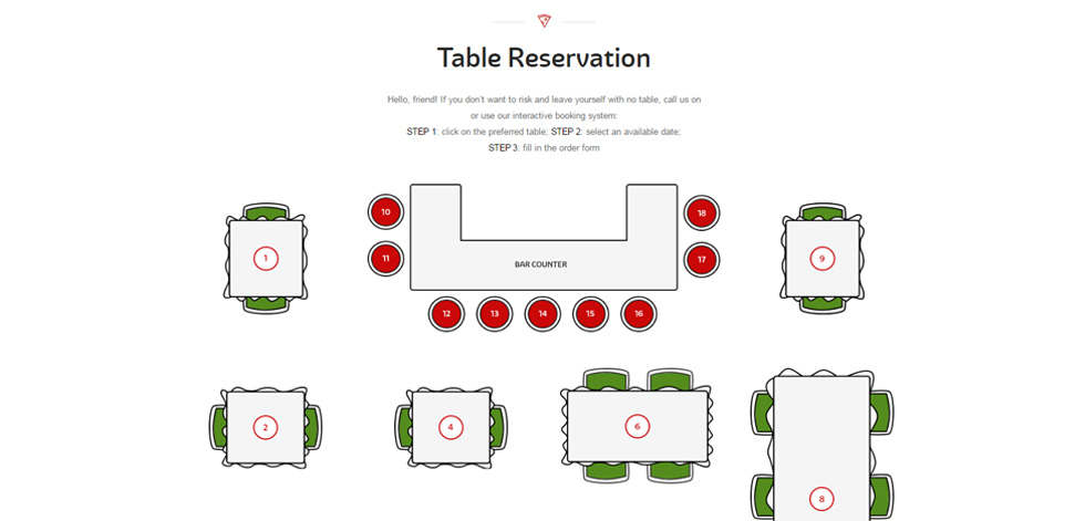 Pizza house premium responsive restaurant cafe bistro for Table 52 reservations