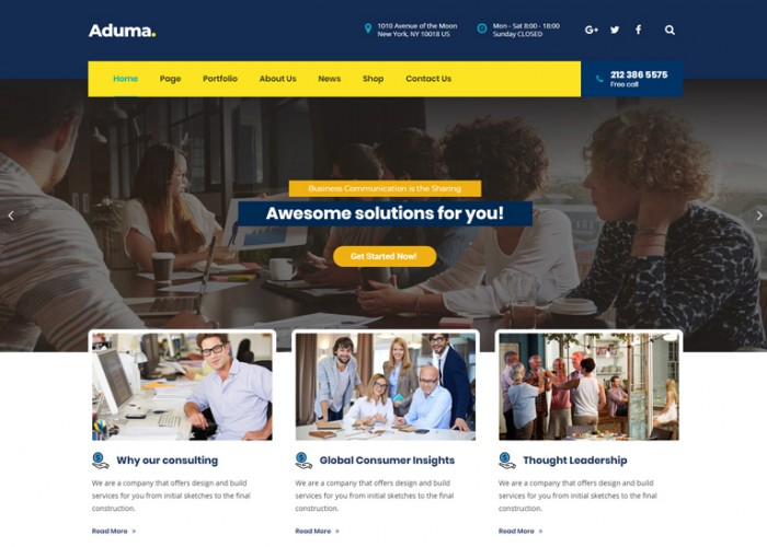 Aduma – Premium Responsive Consulting, Finance WordPress Theme