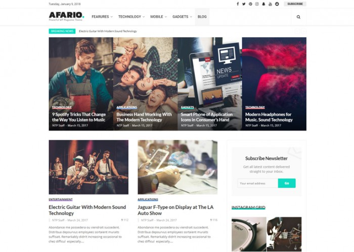 Afario – Premium Responsive News & Magazine WordPress Theme