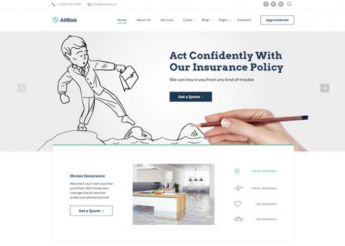 AllRisk – Premium Responsive Insurance Company Multipage HTML5 Template