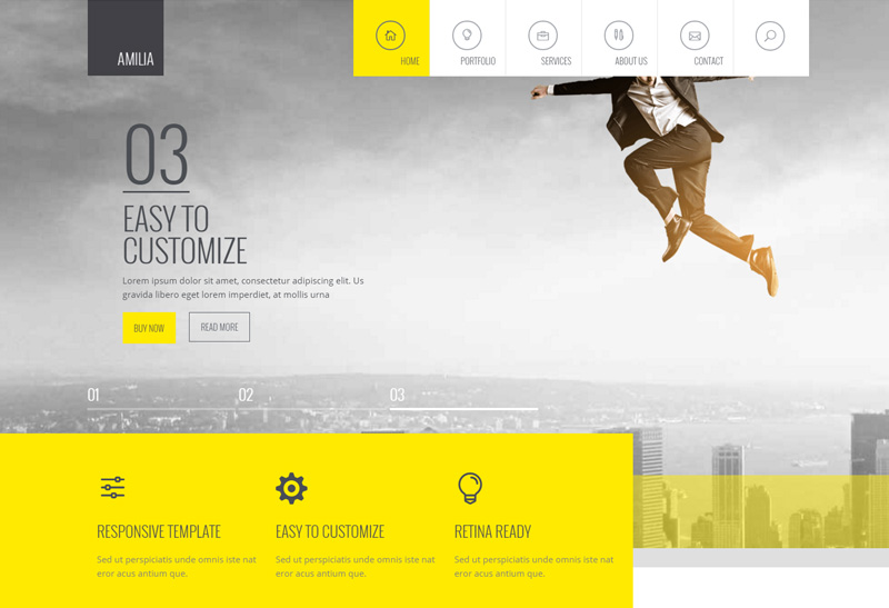 Amilia Premium Responsive Multipurpose One and Multi Page WordPress Theme