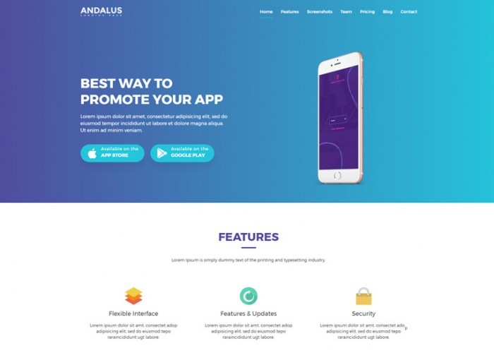 Andalus – Premium responsive App Landing Page HTML5 Template
