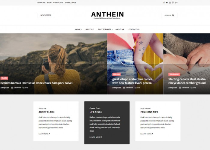 Anthein – Premium Responsive Blog WordPress Theme