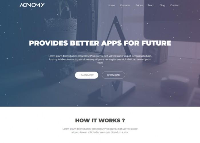 Aonomy – Premium Responsive App Landing Page HTML5 Template