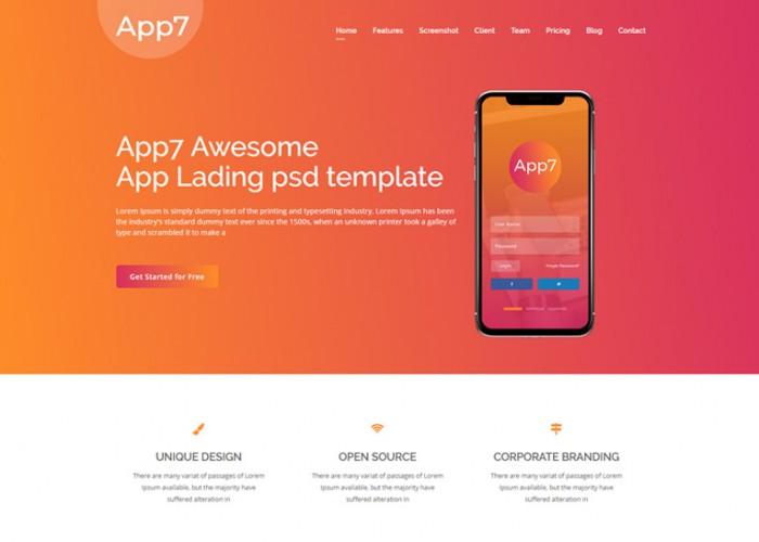 App7 – Premium Responsive App Landing HTML5 Template