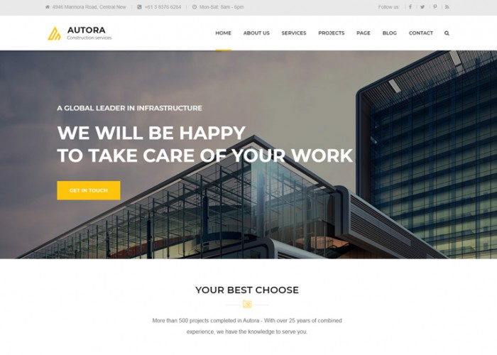 Autora – Premium Responsive Construction Business HTML5 Template
