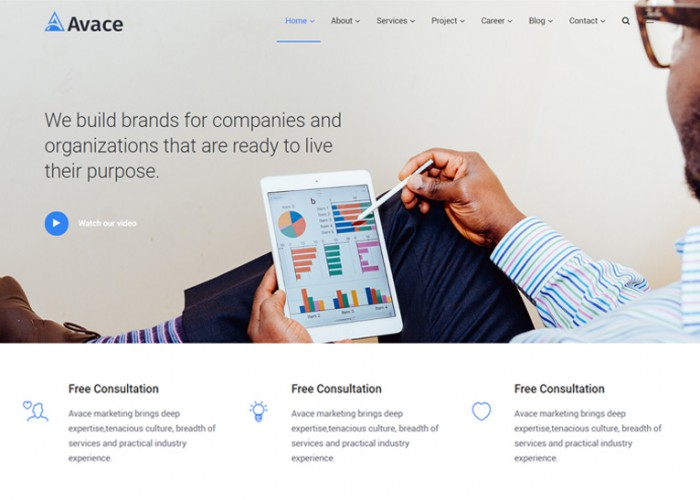 Avace – Premium Responsive Finance, Consulting and Agency HTML5 Template