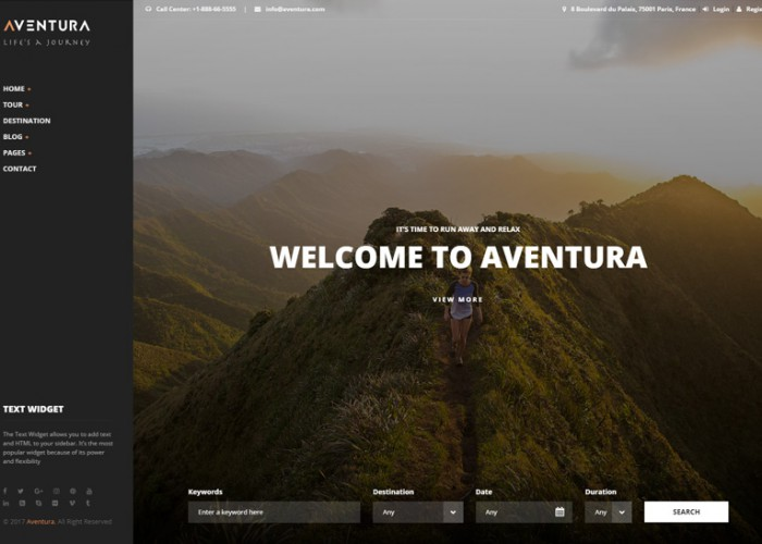 Aventura – Premium Responsive Travel & Tour Booking System WordPress Theme