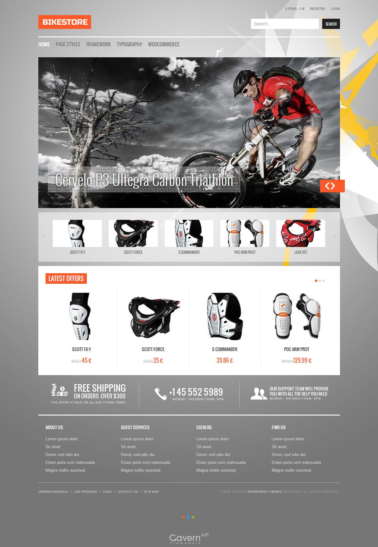 Bike Store Responsive WordPress eCommerce Theme - GavickPro Free Demo