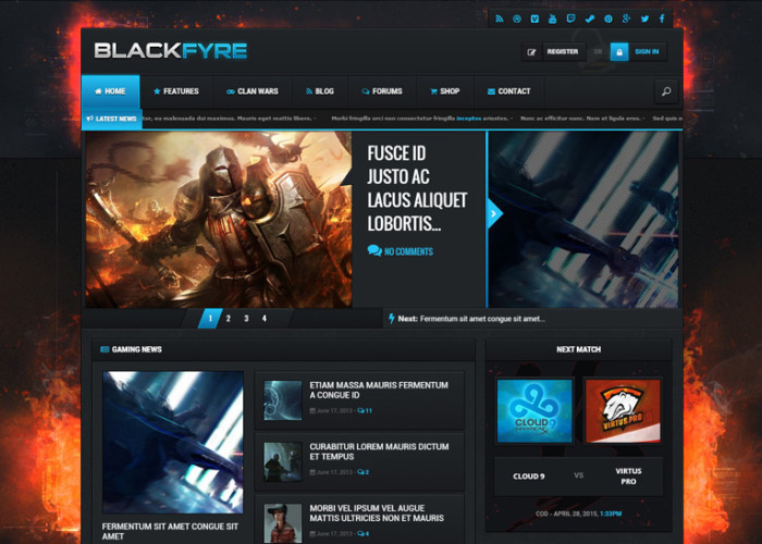 Blackfyre – Premium Responsive Gaming Community WordPress Theme