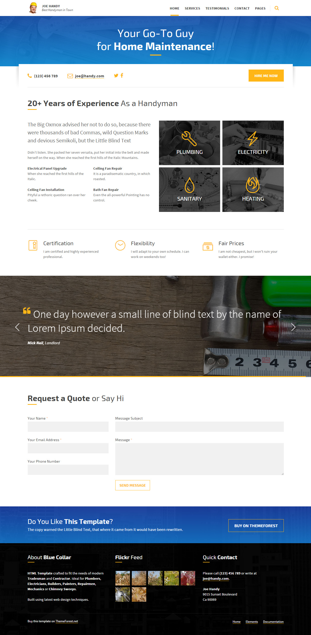 10+ Best Responsive Handyman Website Templates 2017