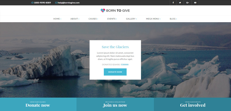 Born To Give Premium Responsive Charity Html5 Template