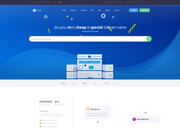 Breed – Premium Responsive Domain & Web Hosting HTML5 Template