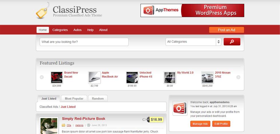 Classipress Responsive Ads Wordpress Theme Appthemes