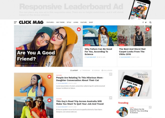 Click Mag – Premium Responsive Viral News Magazine/Blog WordPress Theme