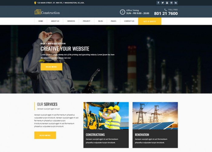 Constructed – Premium Responsive Construction HTML5 Template