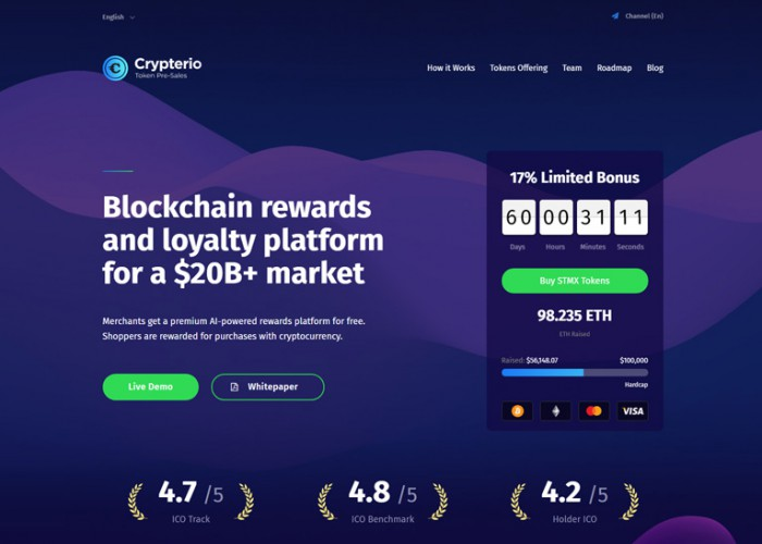 Crypterio – Premium Responsive ICO and Cryptocurrency WordPress Theme