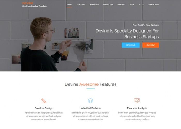 Devine – Premium Responsive One Page Parallax HTML5 Template