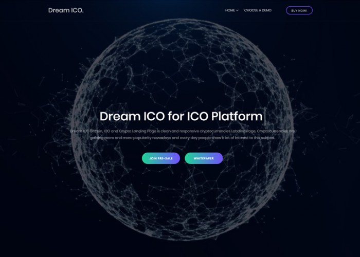 Dream ICO – Premium Responsive ICO and Cryptocurrency HTML5 Template