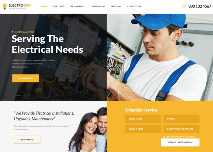 ElectroServ – Premium Responsive Electrical Repair Service WordPress Theme