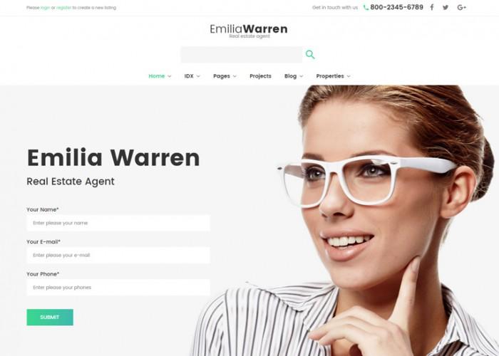 Emilia Warren – Premium Responsive Real Estate WordPress Theme