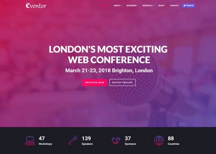 Eventor – Premium Responsive Conference & Event HTML5 Template
