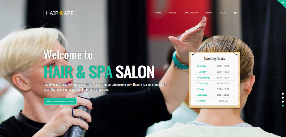 Hair Care Premium Responsive Hair Salon Wordpress Theme