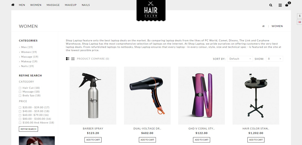 Hair Salon Premium Responsive Opencart Responsive Theme