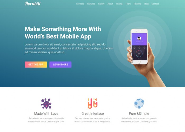 Hornbill – Premium Responsive App Landing Page HTML5 Template