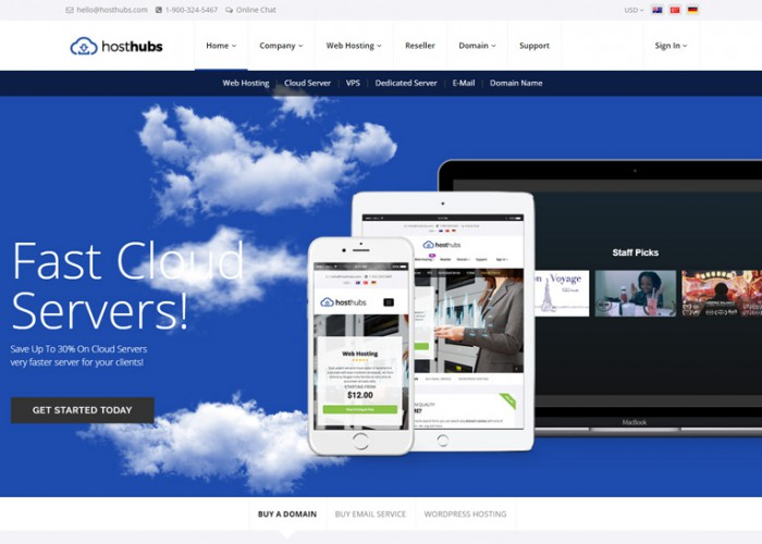 HostHubs – Premium Responsive WHMCS Web Domain WordPress Theme