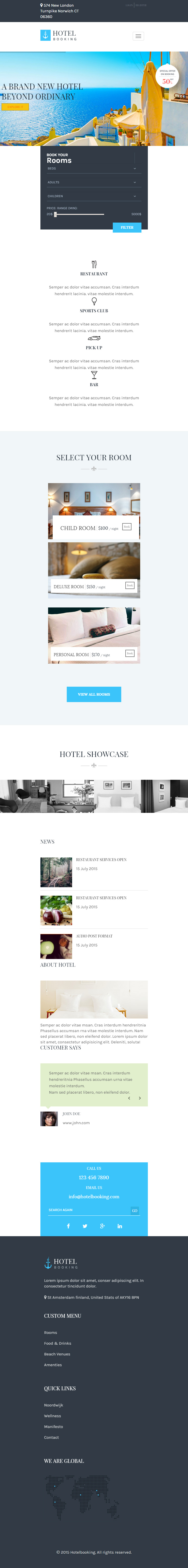 Hotel booking premium responsive wordpress theme for hotels for Tablet hotel booking