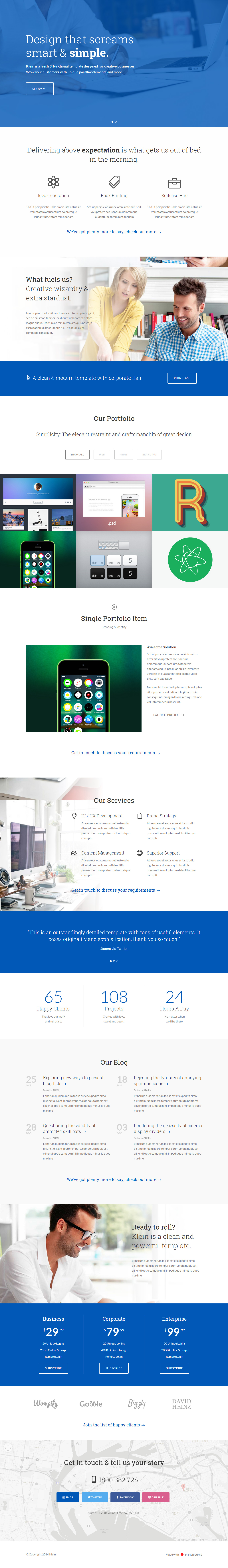 Klein premium responsive one page parallax html5 template for Free html5 parallax scrolling template