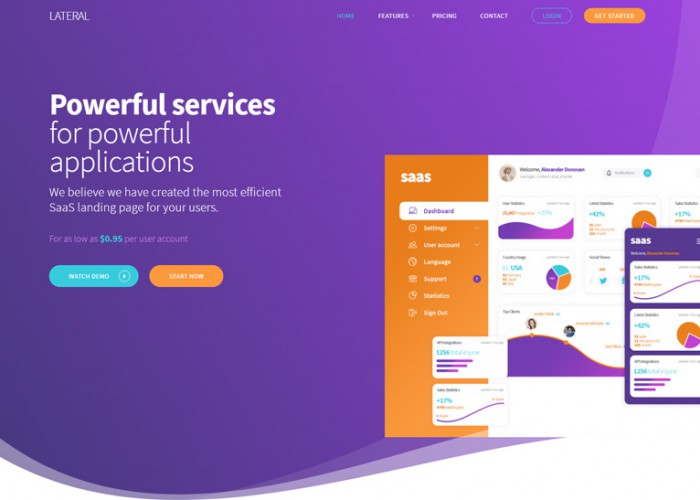 Lateral – Premium Responsive SaaS Landing Page HTML5 Template