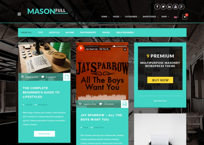 Mason – Premium Responsive Ultimate Masonry WordPress Theme