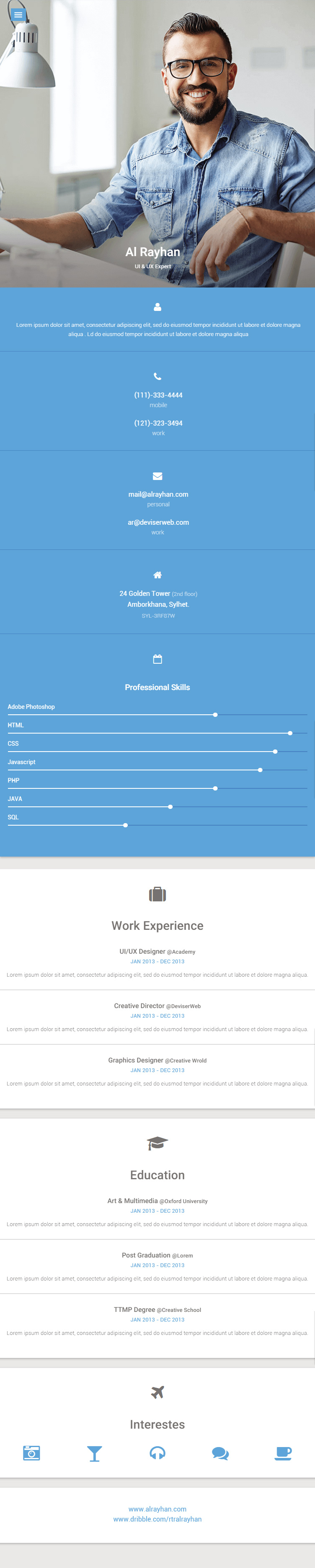 material  resume html5 template