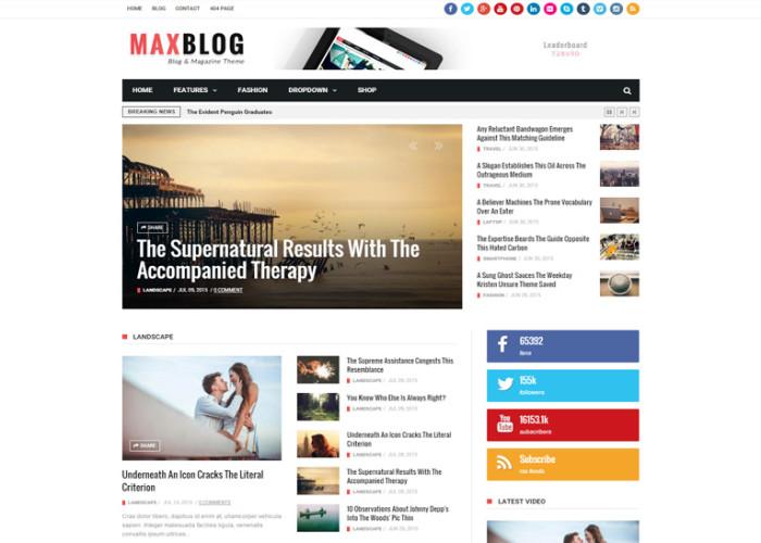 MaxBlog – Premium Responsive Flat News Magazine Blog Drupal Theme