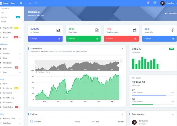 Mega Able – Premium Responsive Angular 5 Admin Dashboard HTML5 Template