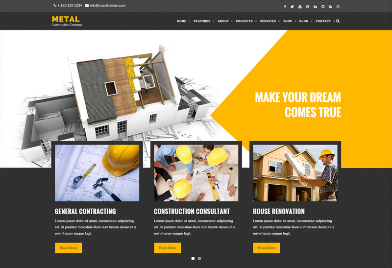 Metal Premium Responsive Construction Business HTML Template - Home remodeling website templates