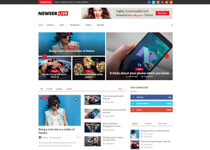 Newser – Premium Responsive Drag and Drop News/Magazine WordPress Theme