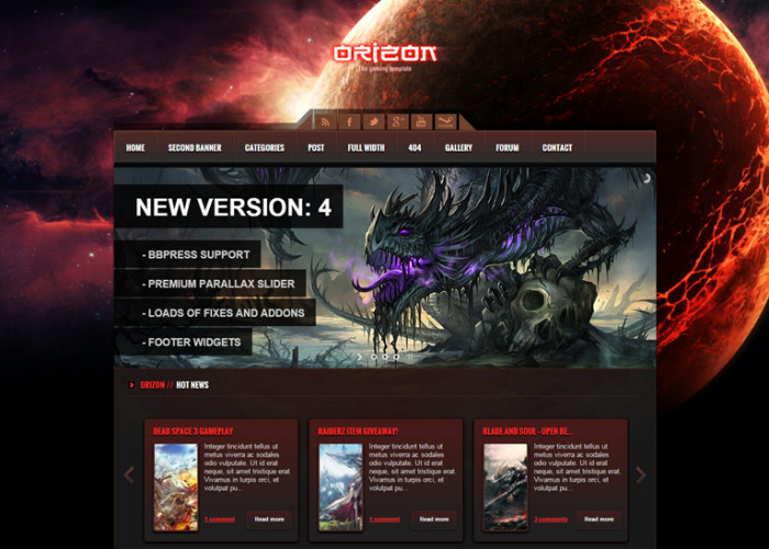 Orizon – Premium Responsive Gaming WordPress Theme