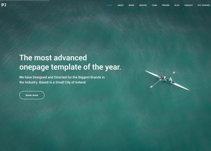 P1 – Premium Responsive One Page Parallax HTML5 Template