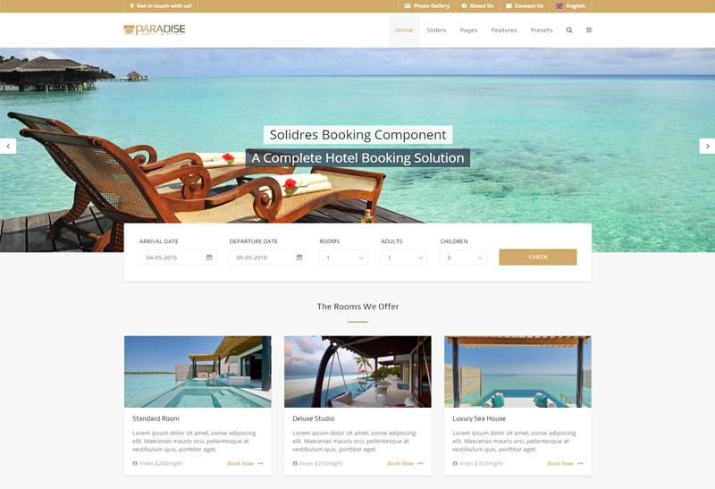 Paradise - Premium Responsive Gantry 5, Hotel & Booking Joomla ...