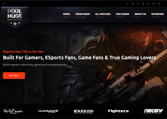 PixieHuge – Premium Responsive Gaming WordPress Theme For Clans & Organizations