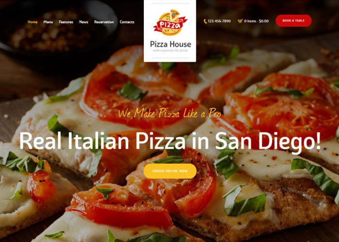 Pizza House – Premium Responsive Restaurant Cafe Bistro WordPress Theme