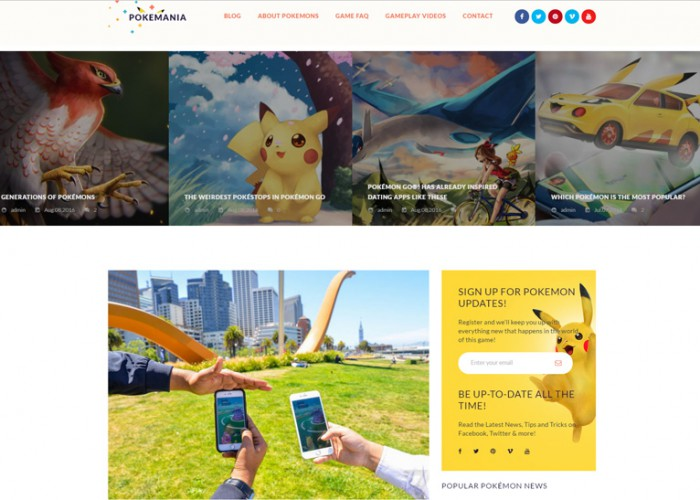 Pokemania – Premium Responsive Game Portal Pokemon WordPress Theme