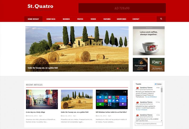 Quatro Premium Responsive Magazine Drupal Theme