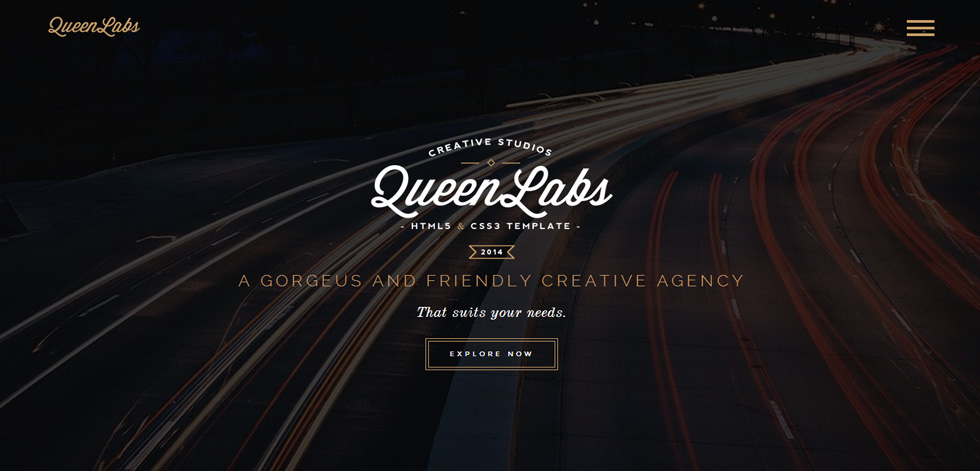 Queen premium responsive one page parallax html5 template for Html welcome page template