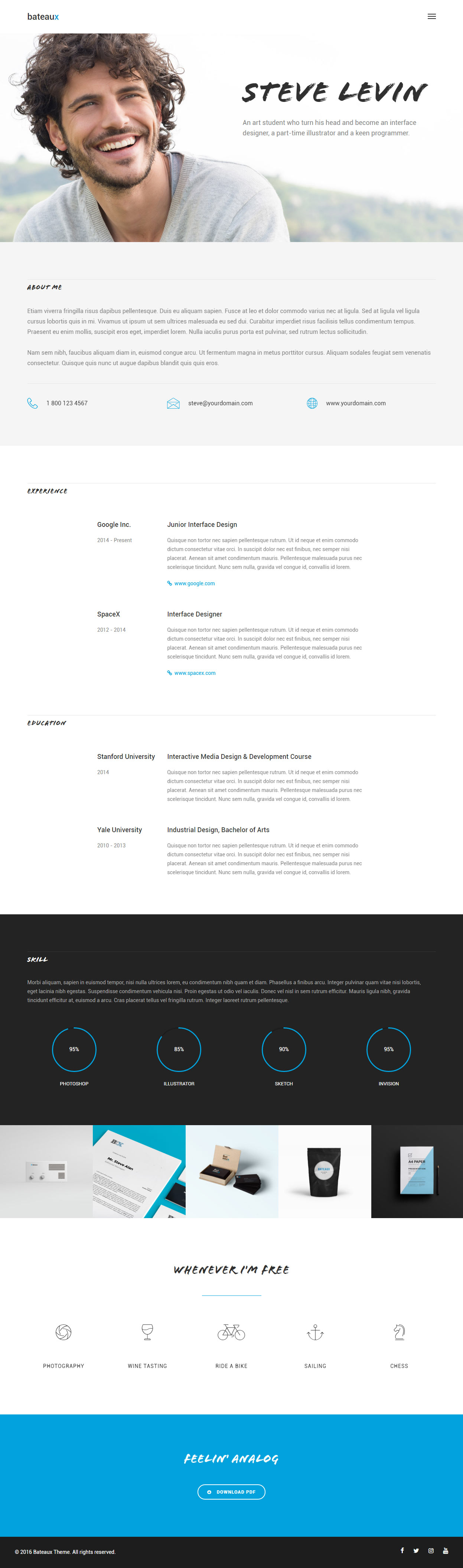 Bateaux WordPress Resume Theme  Wordpress Resume Theme
